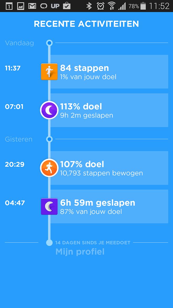 Jawbone UP24 Dagverloop