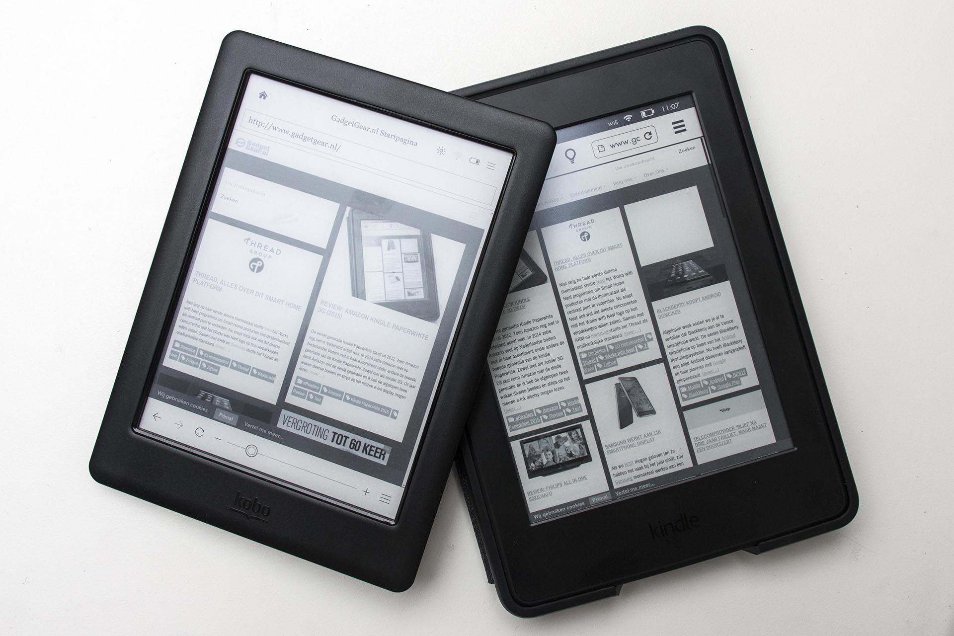 Amazon Kindle Paperwhite 2015 vs  Kobo Glo HD - GadgetGear nl