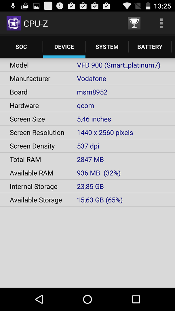 Vodafone Smart Premium 7 CPU-Z
