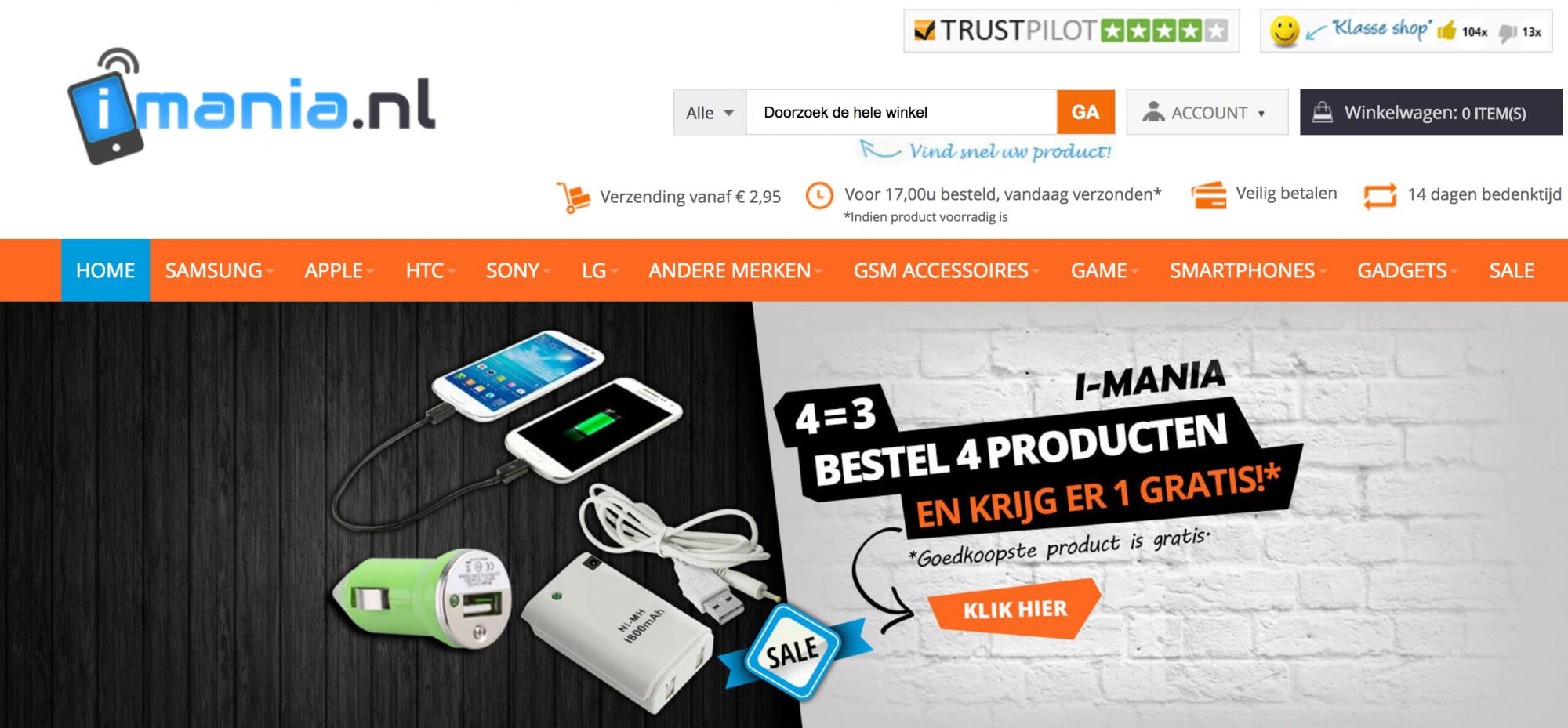 Webshop i mania.nl is zeker geen GadgetGear.nl