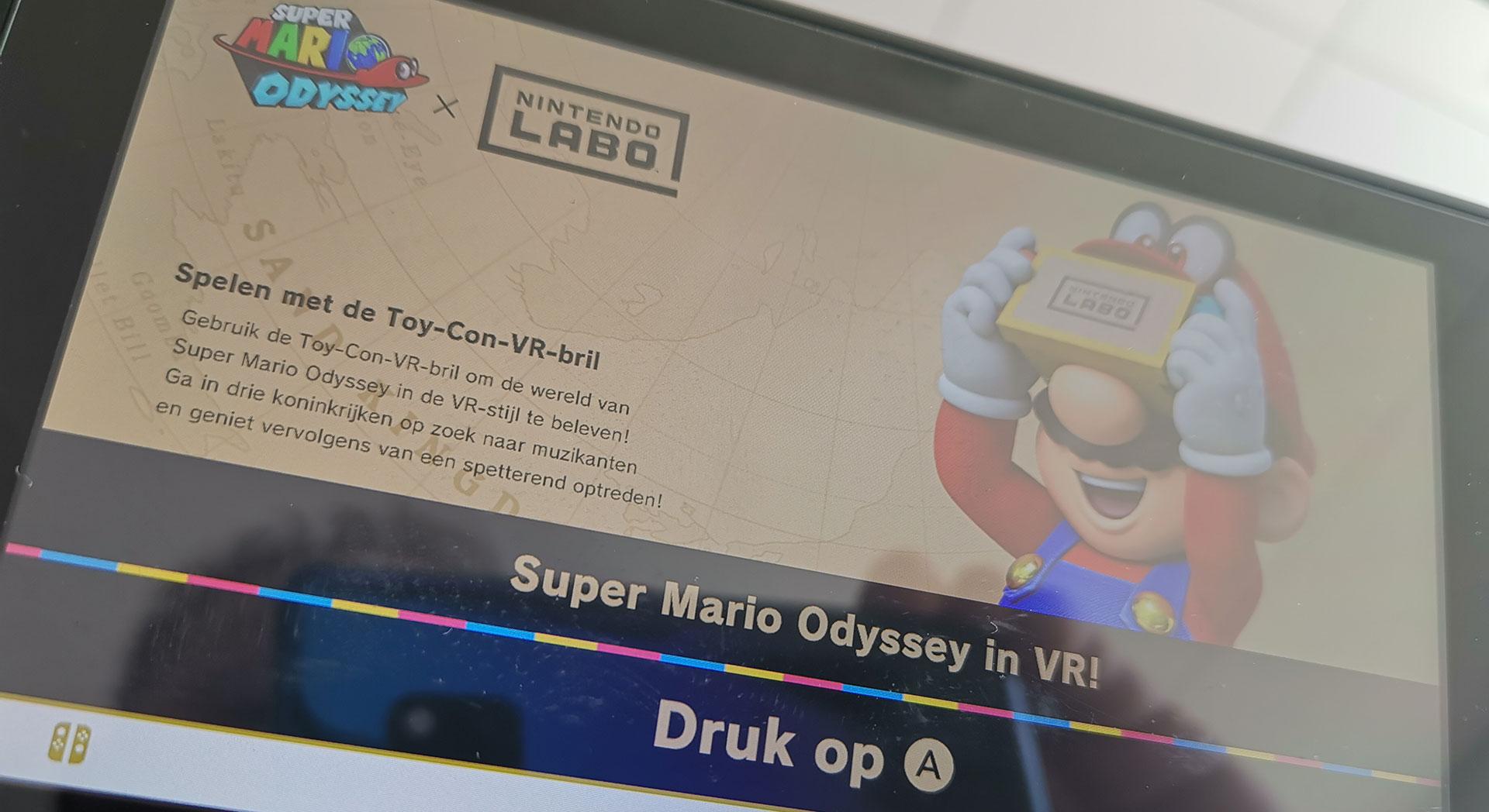 Super Mario Odyssey VR melding op de Switch