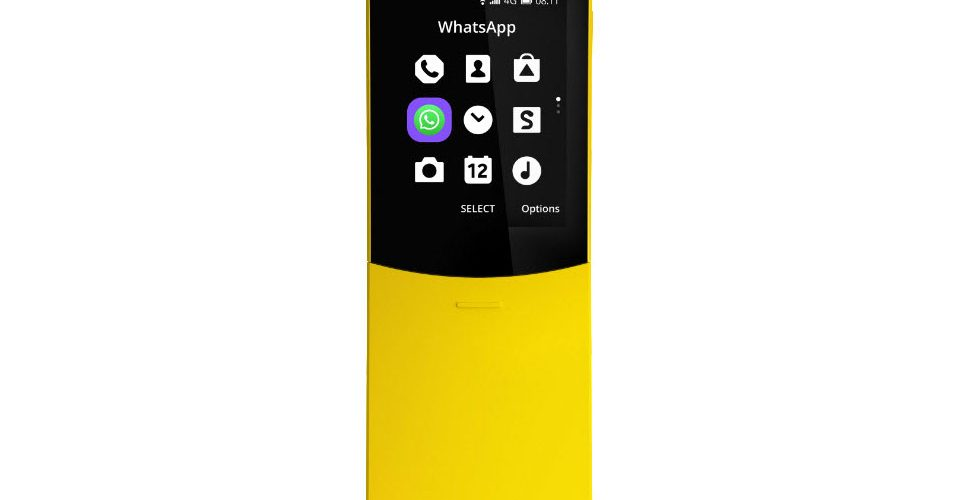 Nokia 8110 4G met WhatsApp icoon