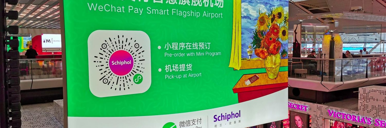 WeChat Pay reclame op Schiphol