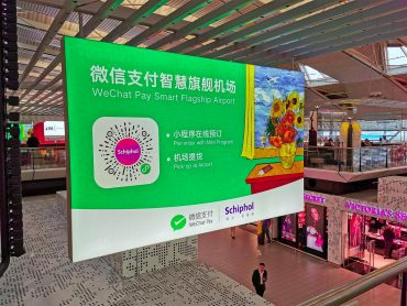 WeChat Pay reclame op Schiphol