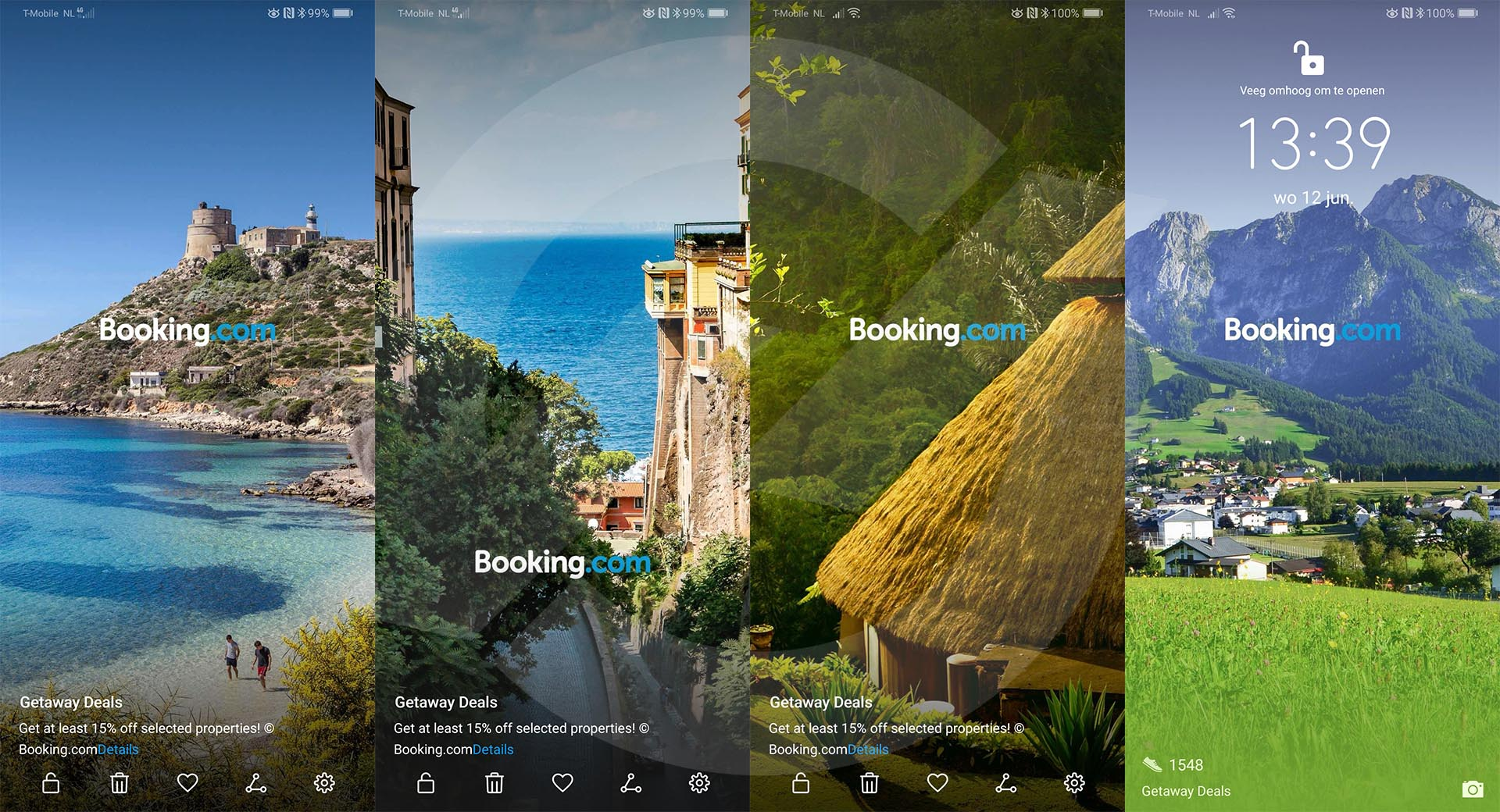 Booking.com advertenties op Huawei P30 Pro Lockscreen