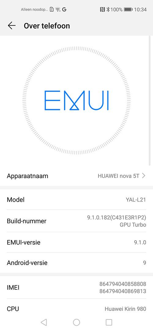 Huawei Nova 5T EMUI Screenshot