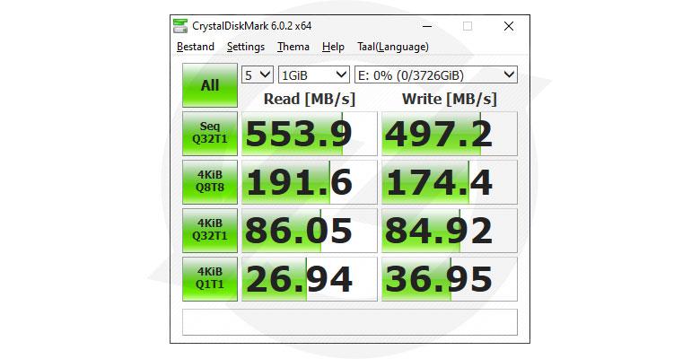 WDS400T2B0A CrystalDiskMark benchmark resultaten
