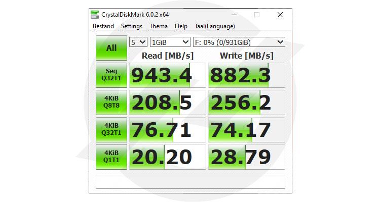 CrystelDiskMark Samsung Portable SSD T7
