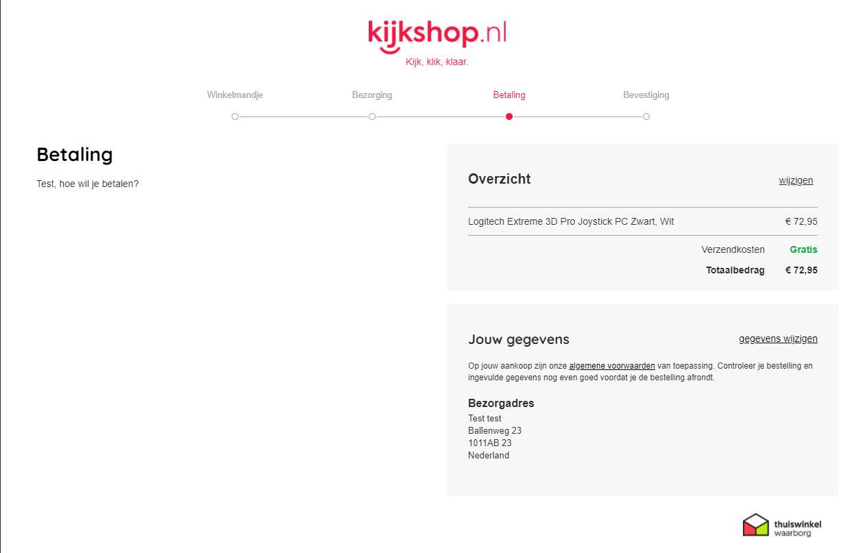 Afrekenen is niet meer mogelijk bij Kijkshop.nl